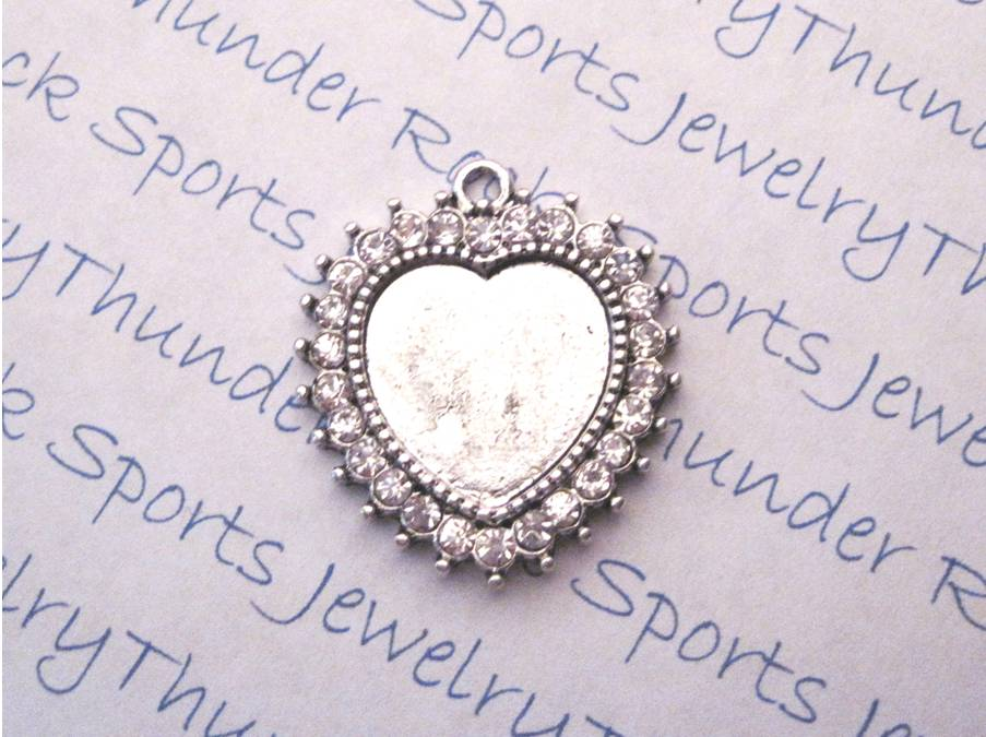 Antique Silver Plated Heart Pendant Blank with Crystal Bezel
