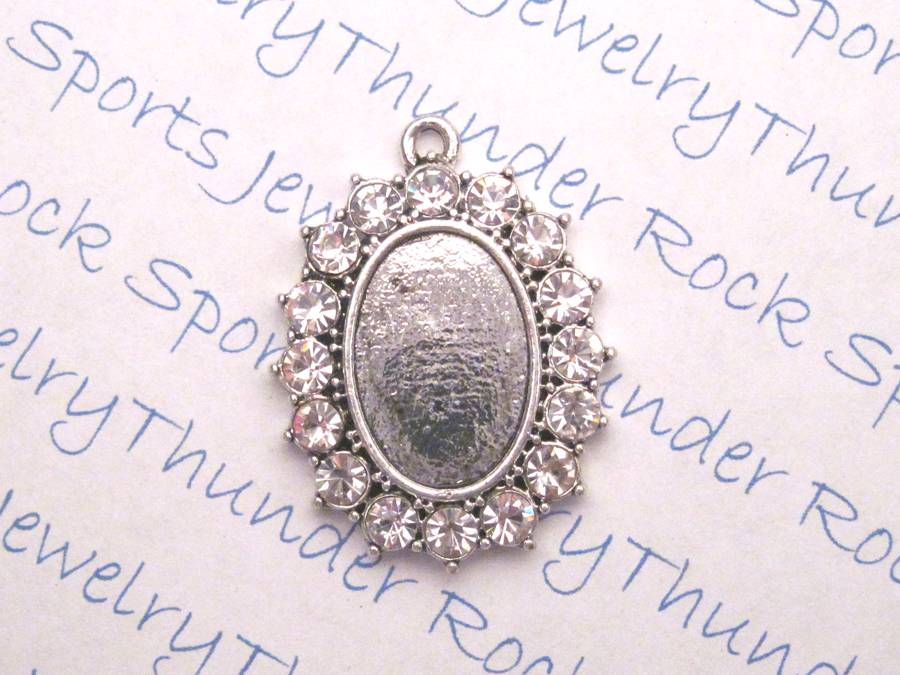 Antique Silver Plated Oval Pendant Blank Framed with Crystals