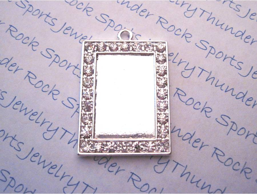 Silver plated rectangle pendant blank with crystal framed bezel silver plated rectangle pendant blank with crystal framed bezel mozeypictures Image collections