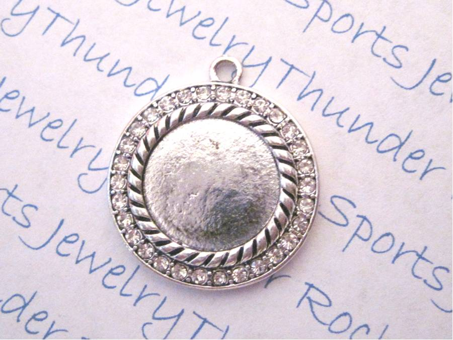 Antique Silver Pendant Blank with 15mm Round Bezel