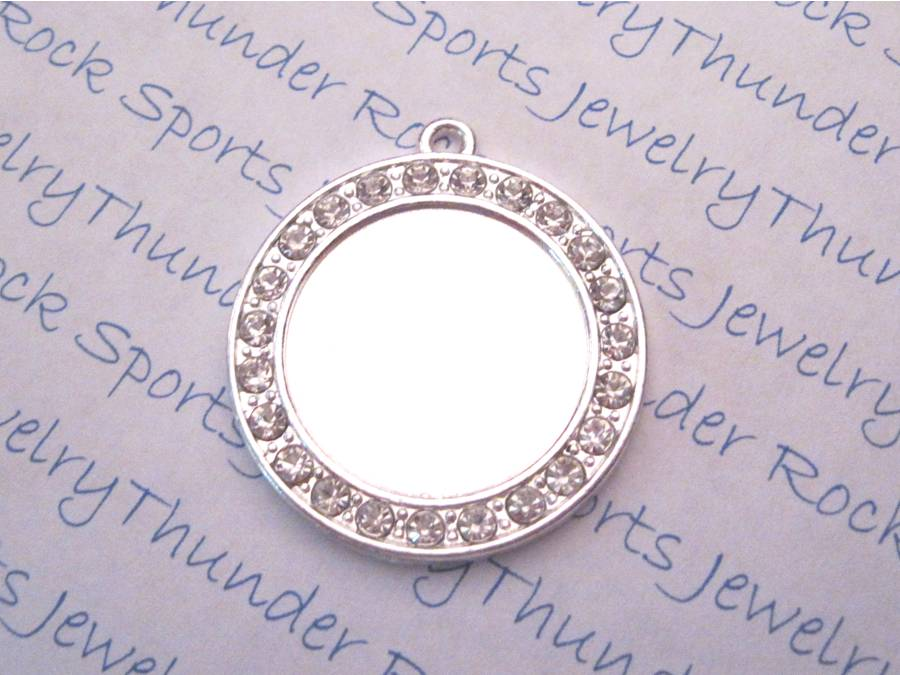 Silver Plated Round Pendant Blank with 24mm Bezel