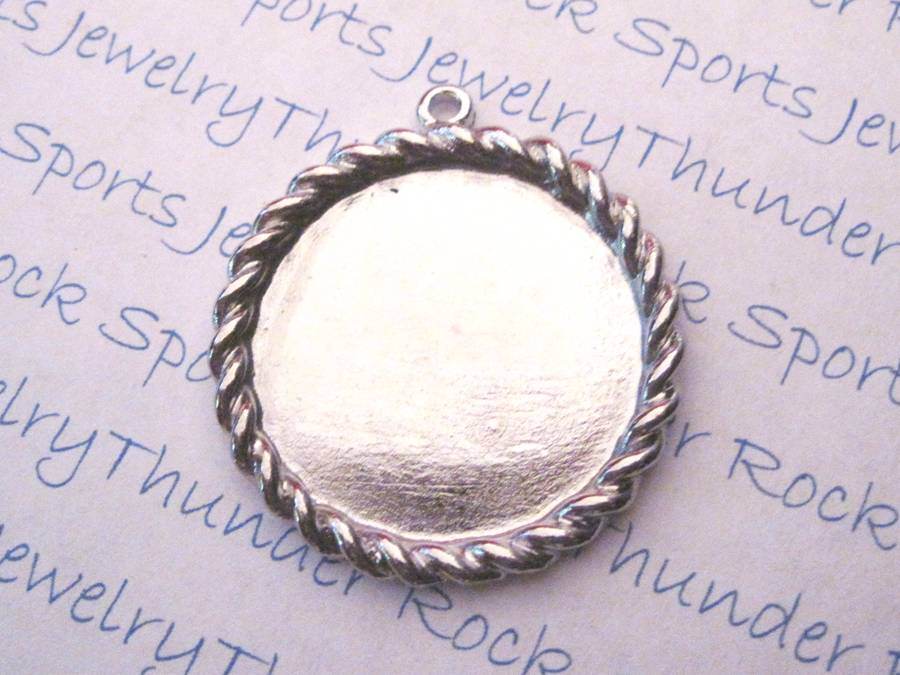 Antique Silver Plated Round Pendant Blank with 28mm Bezel