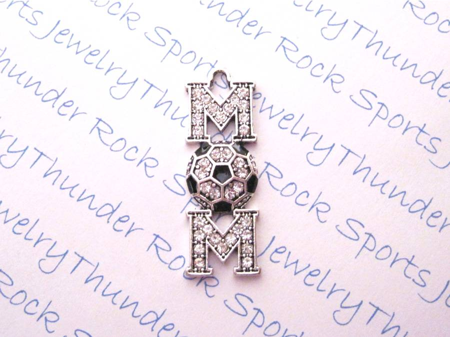 3 Soccer Mom Charms Crystal Silver Pendants