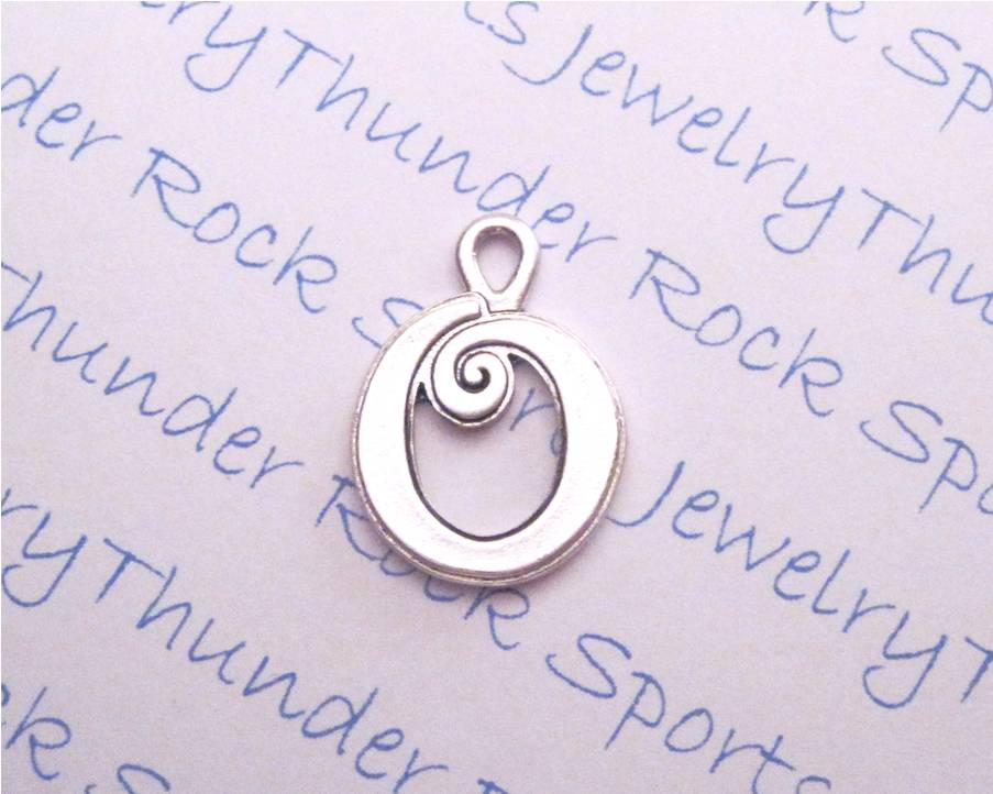 Silver Curlz Letter O Alphabet Initial Charm
