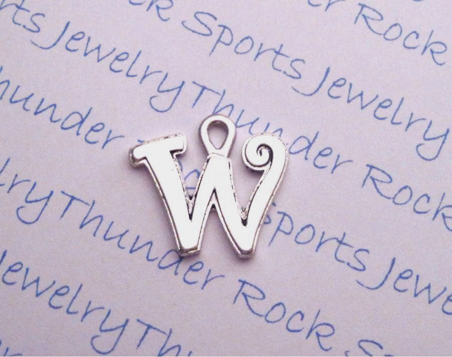 3 Script Letter W Alphabet Initial Silver Charms