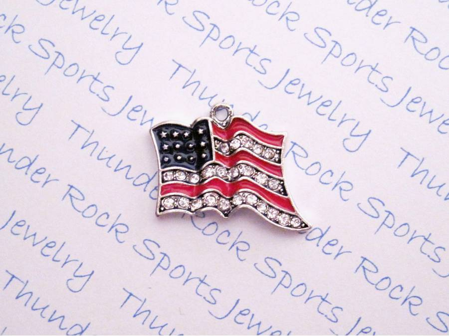 3 American Flag Charms Crystal Silver Pendants