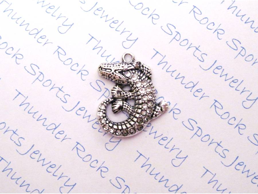 Alligator Charm Crystal Silver Pendant