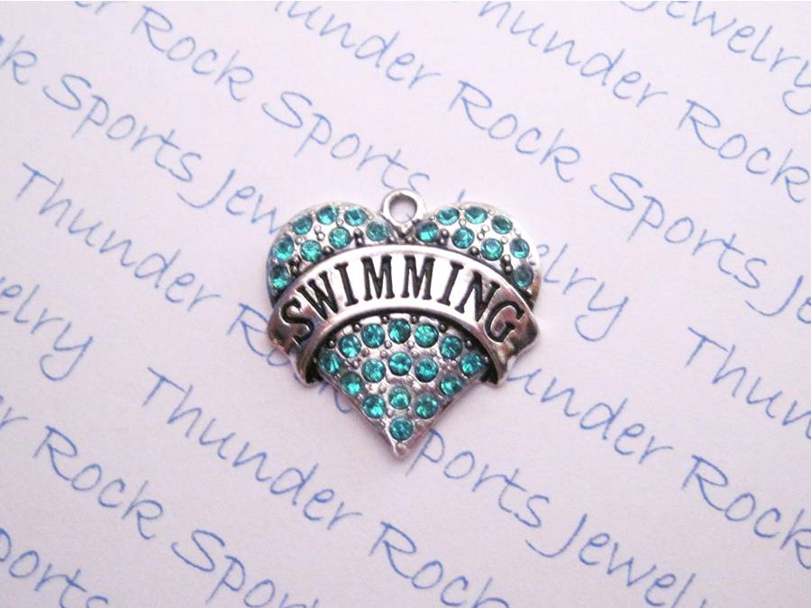 3 Swimming Charms Aqua Crystal Silver Heart Pendants
