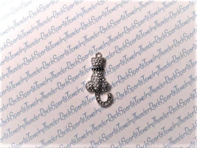 3 Kitty Cat Charms Crystal Silver Pendants