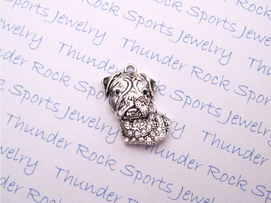 3 Bulldog Charms Crystal Silver Pendants
