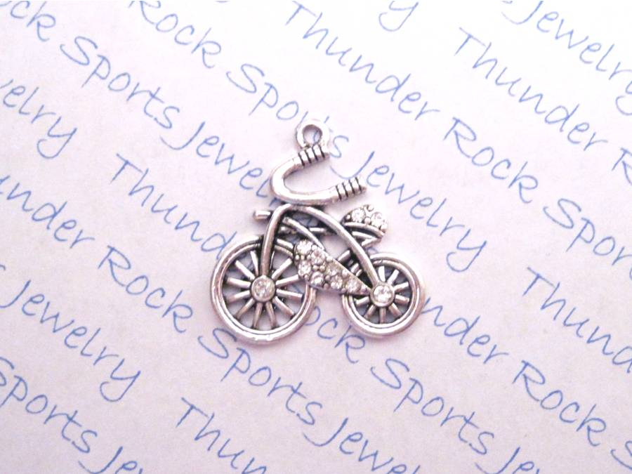3 Bicycle Charms Crystal Silver Pendants