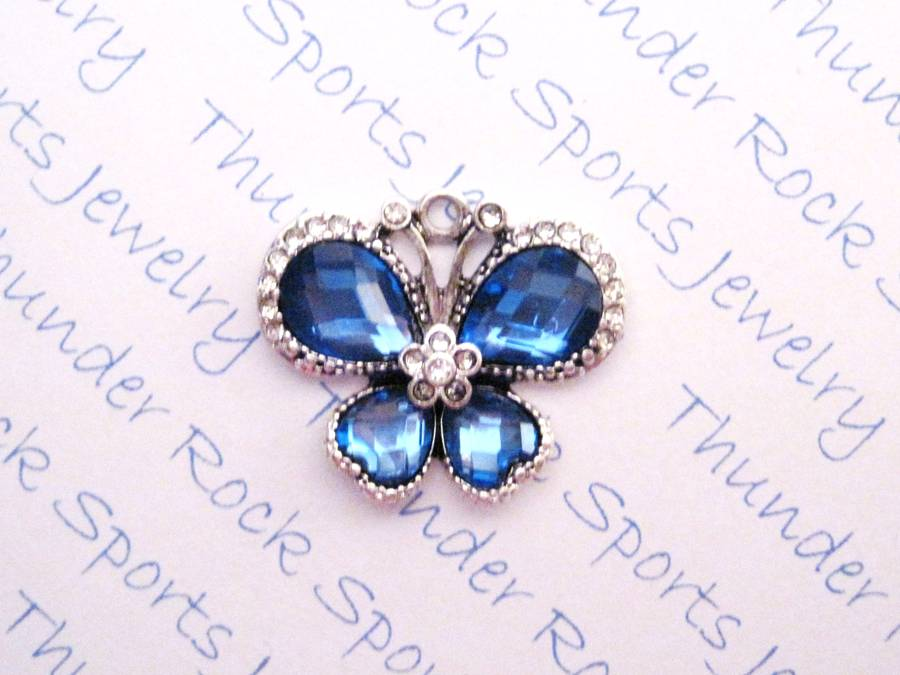 3 Butterfly Charms Blue Crystal Silver Pendants