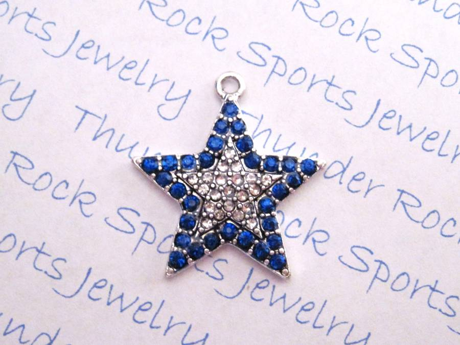 3 Star Charms Blue Crystal Silver Pendants