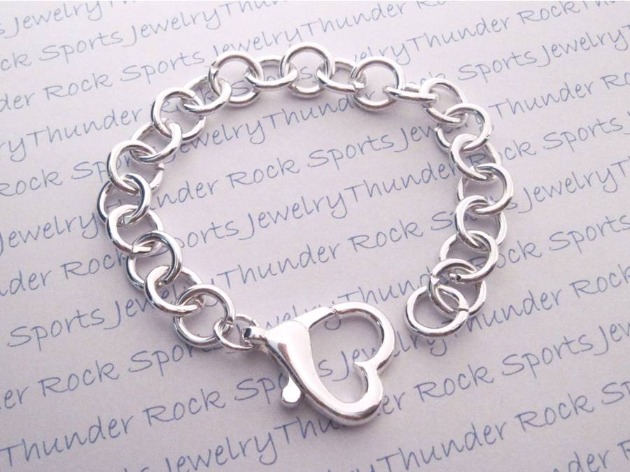 Sterling Silver Plated Charm Bracelet with Heart Clasp