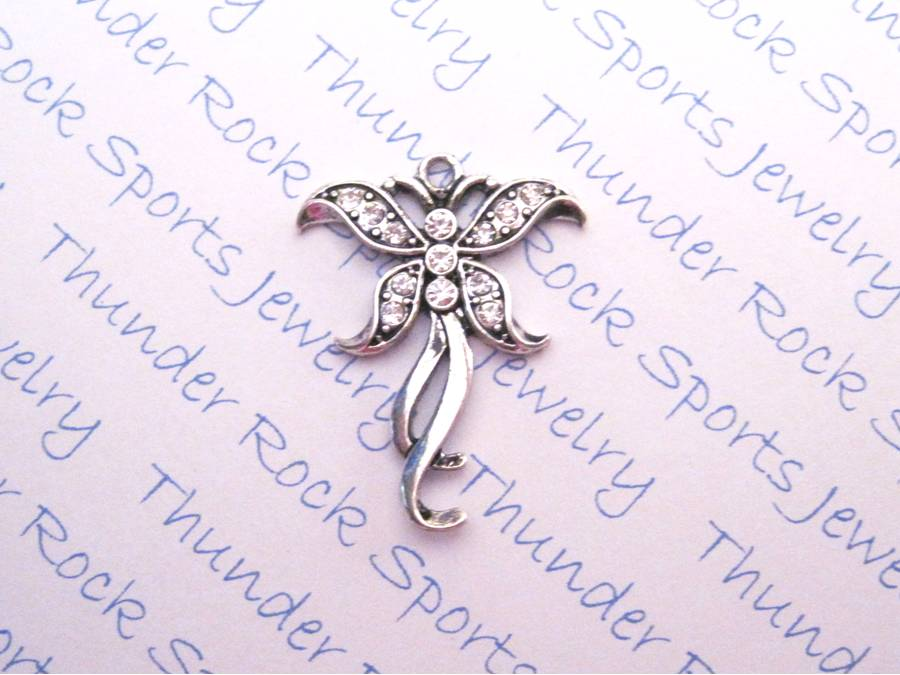 Butterfly Charm Crystal Silver Pendant