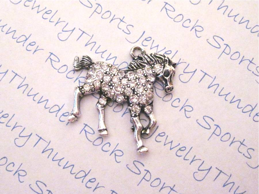 3 Horse Charms Crystal Silver Pendants