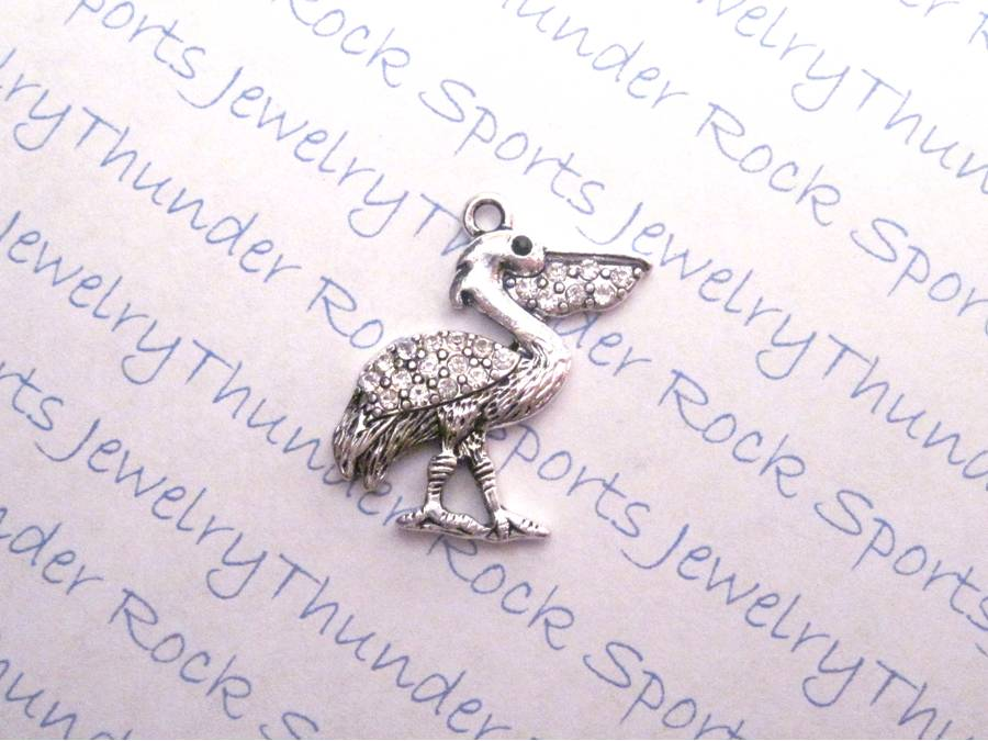 3 Pelican Charms Crystal Silver Pendants
