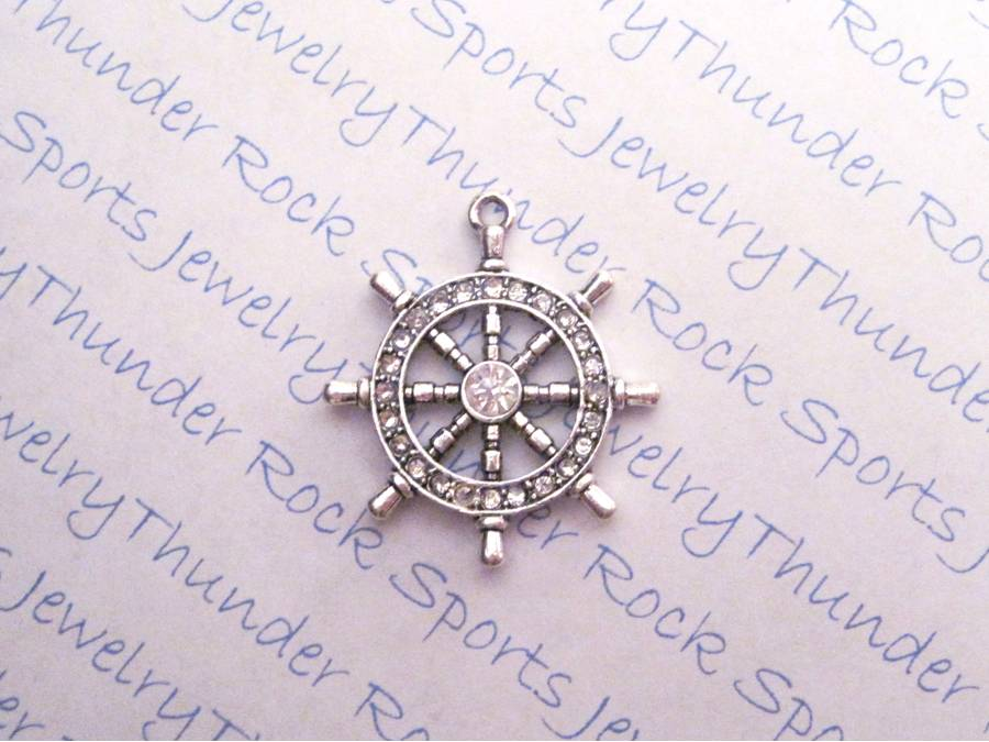 3 Helm Ship Wheel Charms Crystal Silver Pendants