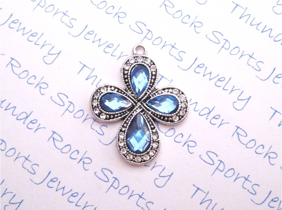 3 Cross Charms Blue Crystal Silver Pendants