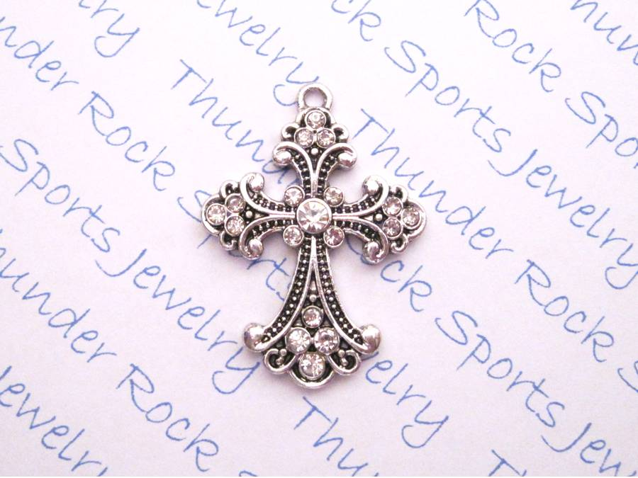 3 Bottony Cross Charms Crystal Silver Pendants