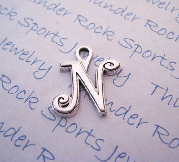 3 Script Letter N Alphabet Initial Silver Charms