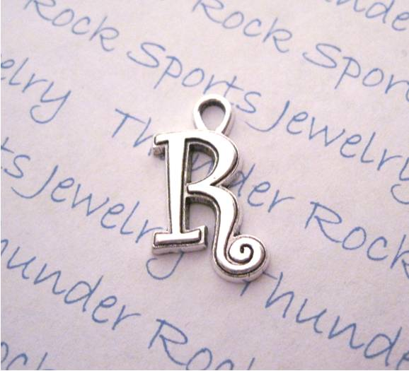 3 Script Letter R Alphabet Initial Silver Charms