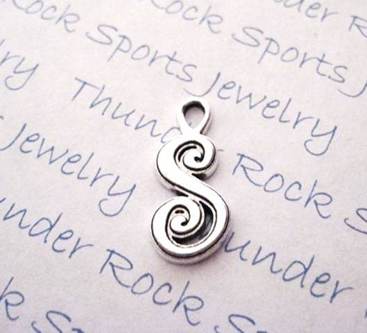 3 Script Letter S Alphabet Initial Silver Charms