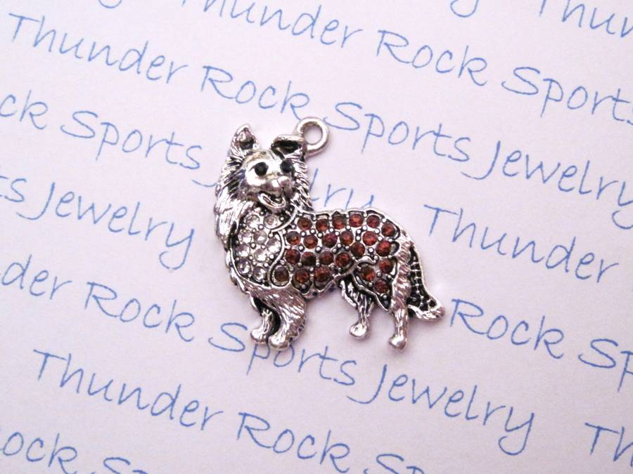 3 Collie Charms Crystal Silver Pendants