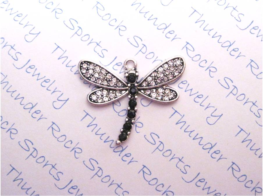 3 Dragonfly Charms Crystal Silver Pendants