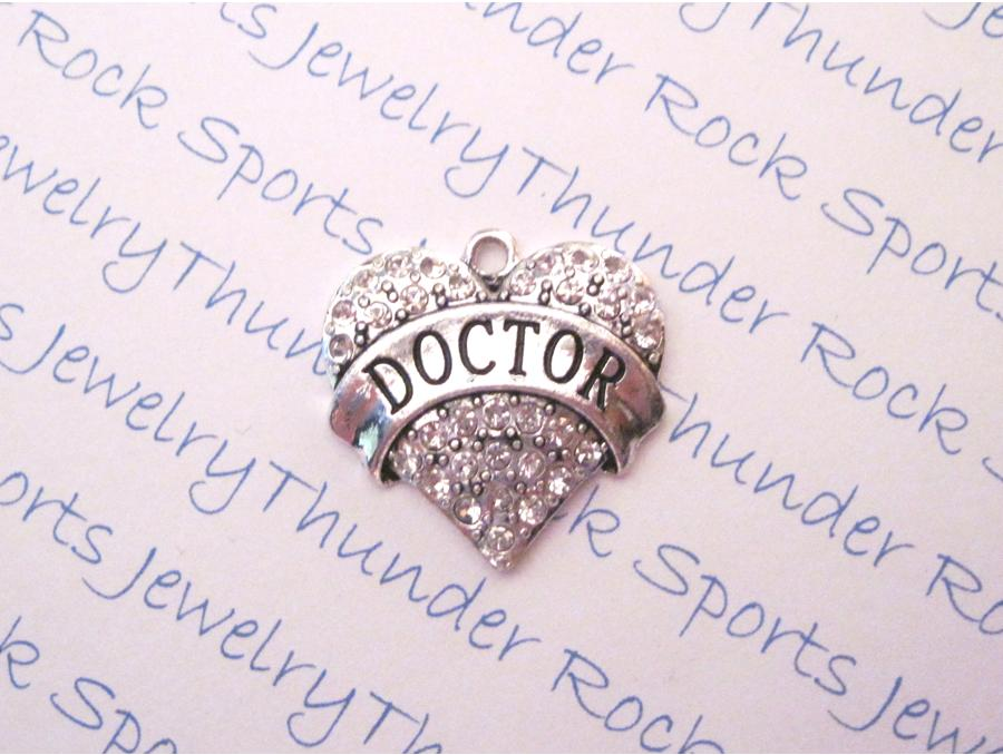 3 Doctor Charms Crystal Silver Heart Pendants