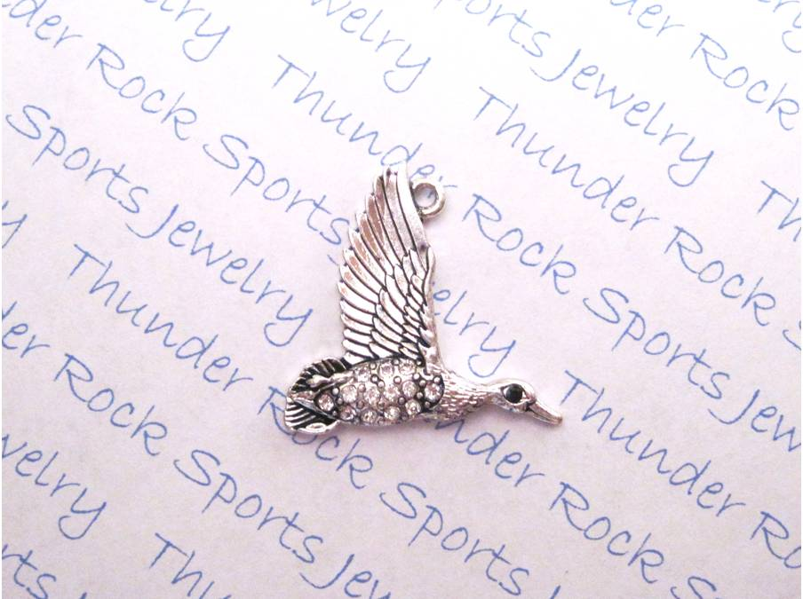 Duck Flying Crystal Silver Pendant