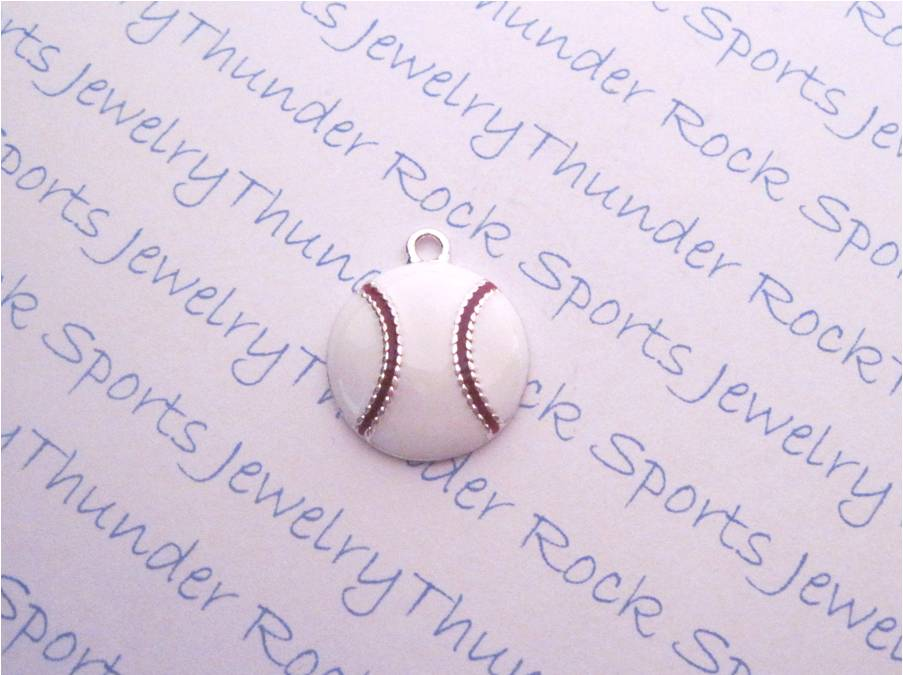 3 Baseball Charms Enamel Silver Pendants
