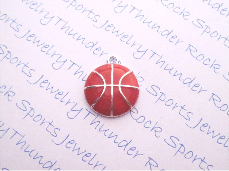 3 Basketball Charms Enamel Silver Pendants