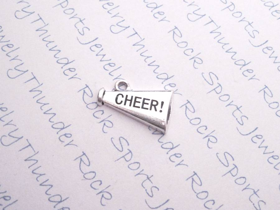 3 Cheerleader Cheer Megaphone Silver Charms