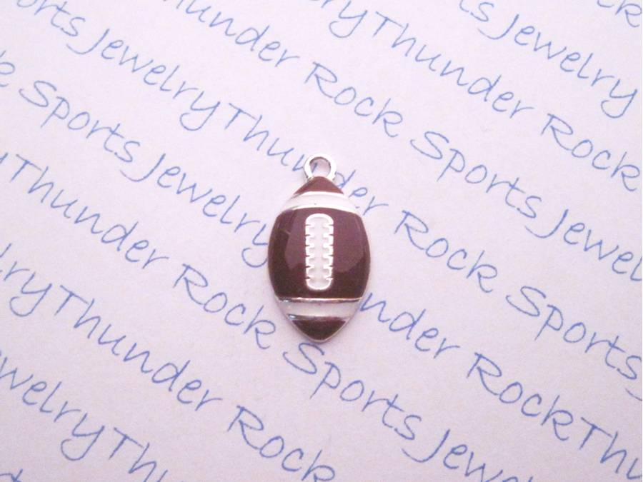 3 Football Enamel Silver Charms