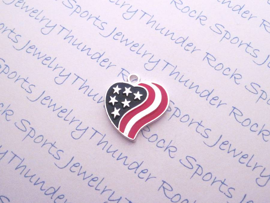Antique Silver American Flag Silver Heart Charm Pendant