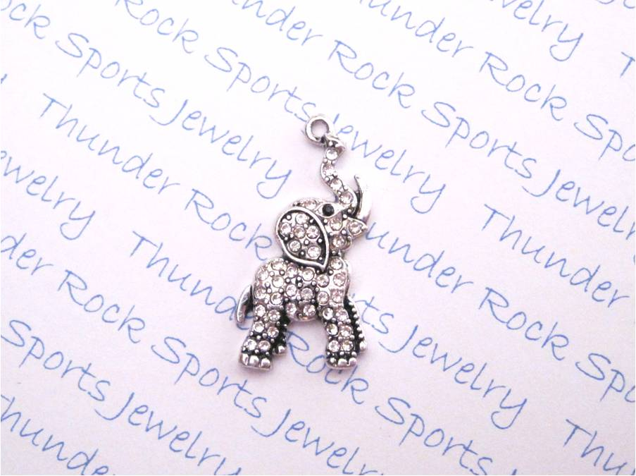 3 Elephant Luck Charms Clear Crystal Silver Pendants
