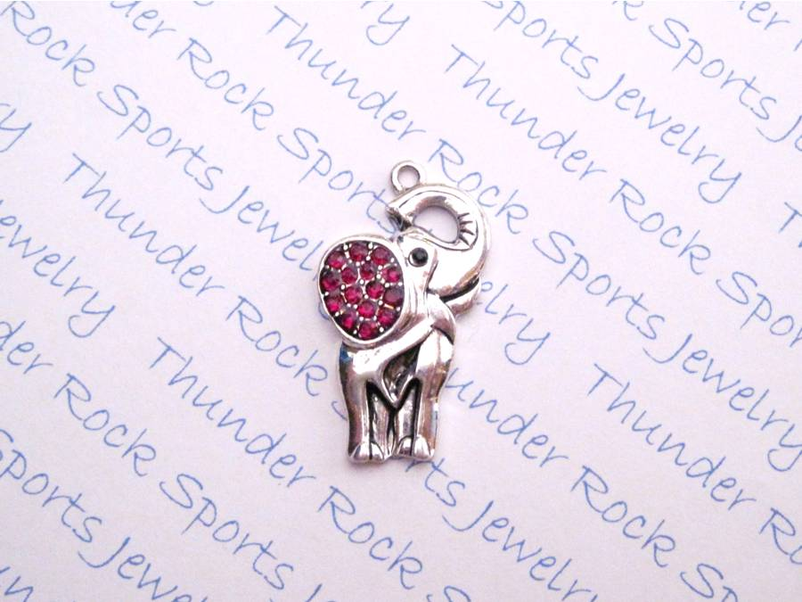 Elephant Large Ear Charm Red Crystal Silver Pendant