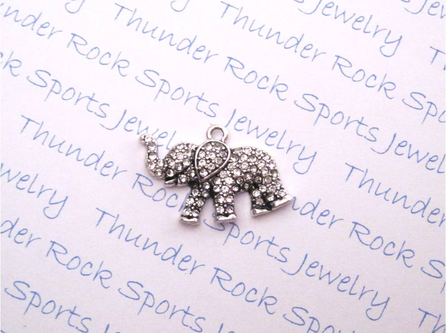 3 Elephant Charms Clear Crystal Silver Pendants
