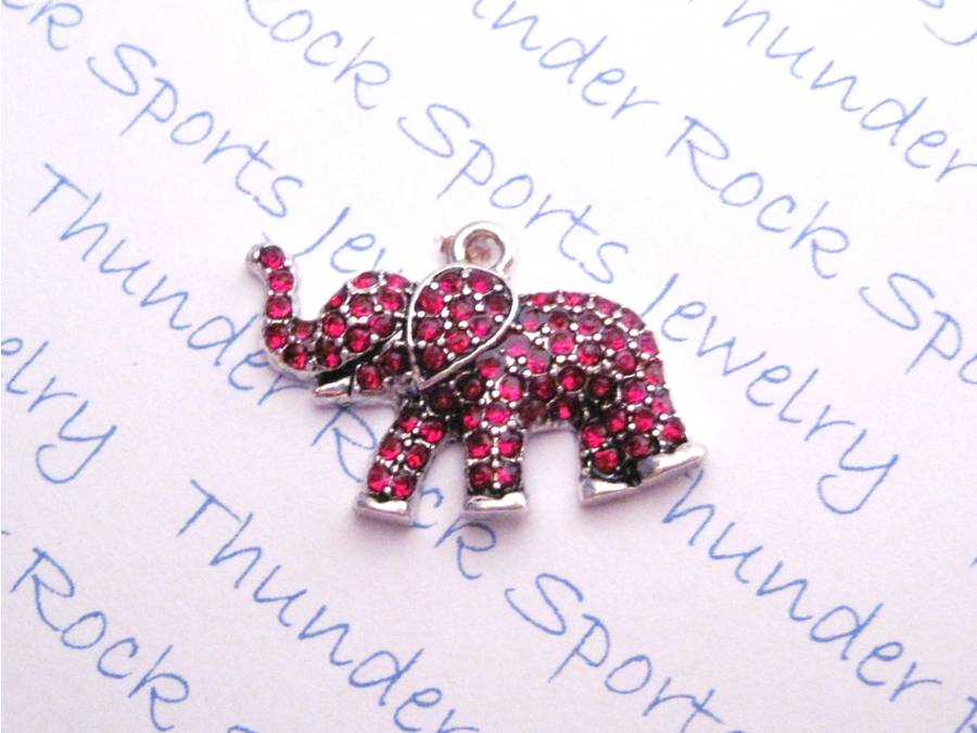 3 Elephant Charms Red Crystal Silver Pendants