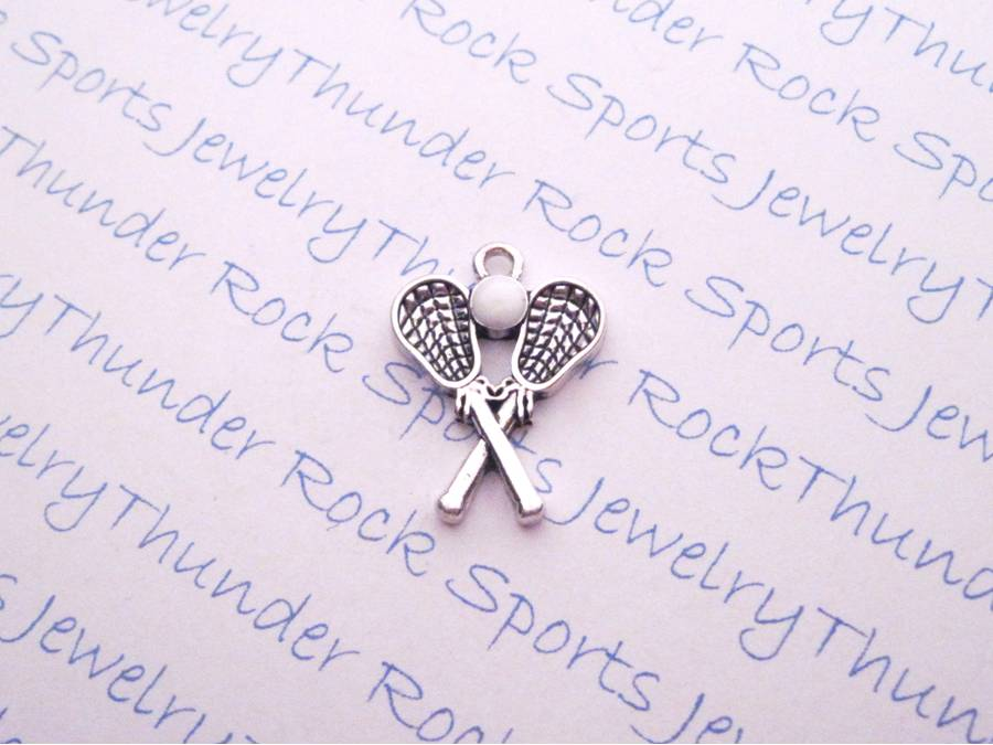 3 Lacrosse Sticks and Ball Enamel Silver LAX Charms