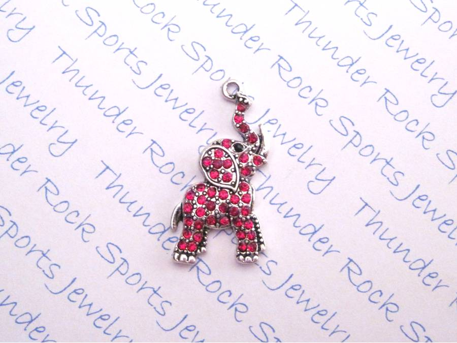 3 Elephant Luck Charms Red Crystal Silver Pendants