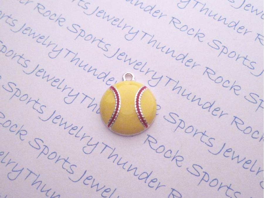 3 Softball Charms Enamel Silver Pendants