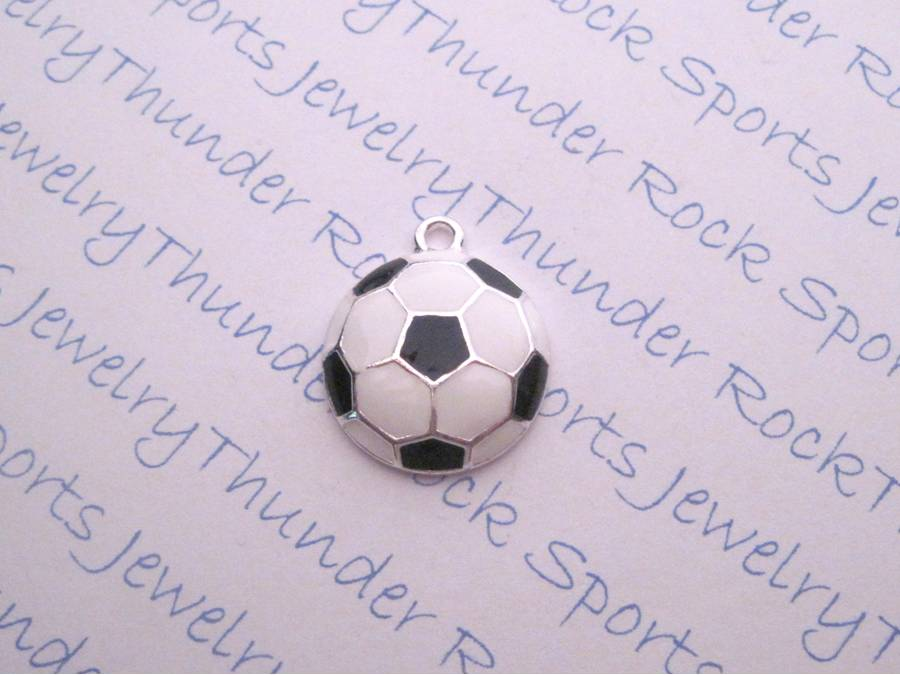 3 Soccer Charms Enamel Sports Silver Pendants