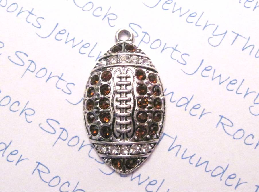 3 Football Charms Brown Crystal Silver Large Pendants
