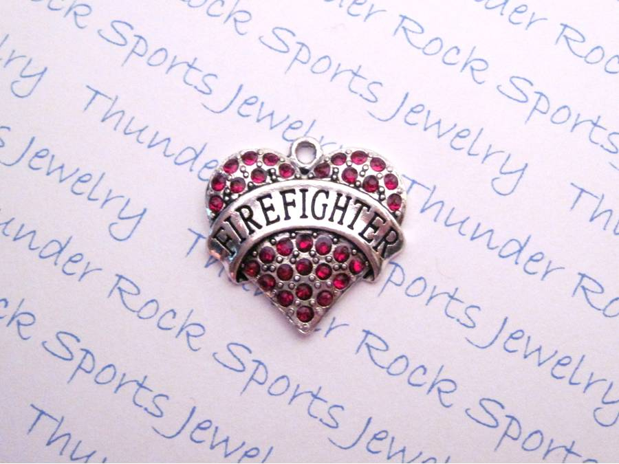 Firefighter Red Crystal Heart Pendant