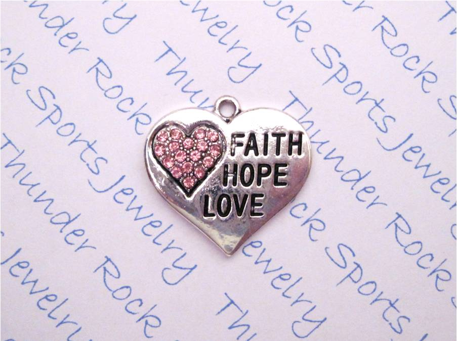 3 Faith Hope Love Charms Pink Crystal Silver Heart Pendants