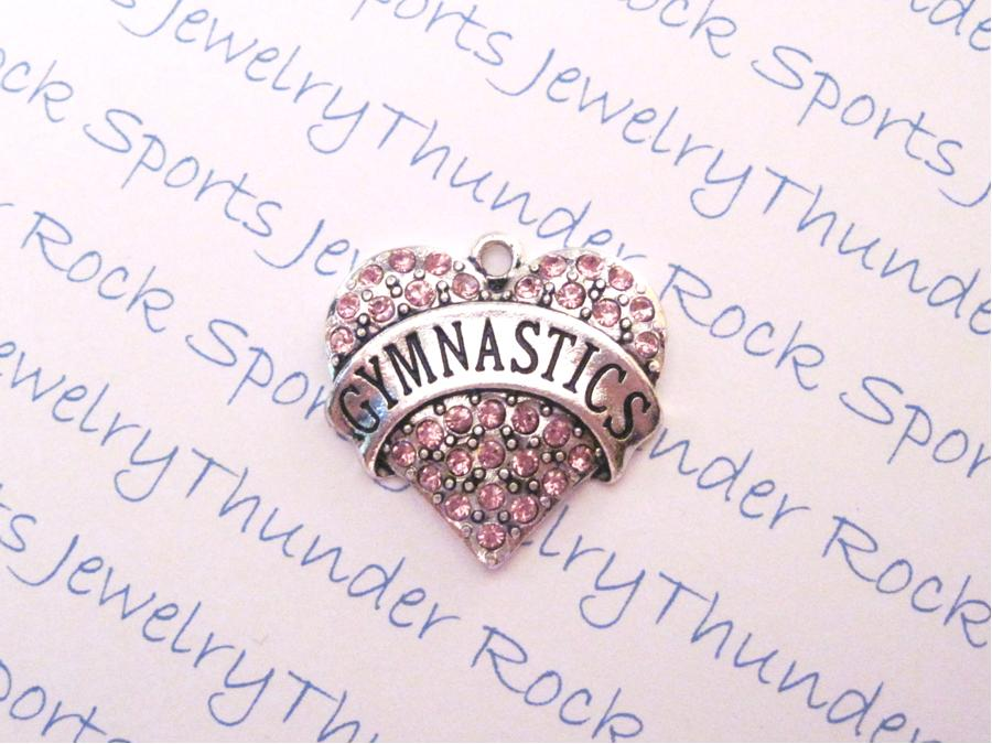 3 Gymnastics Charms Crystal Silver Heart Pendants