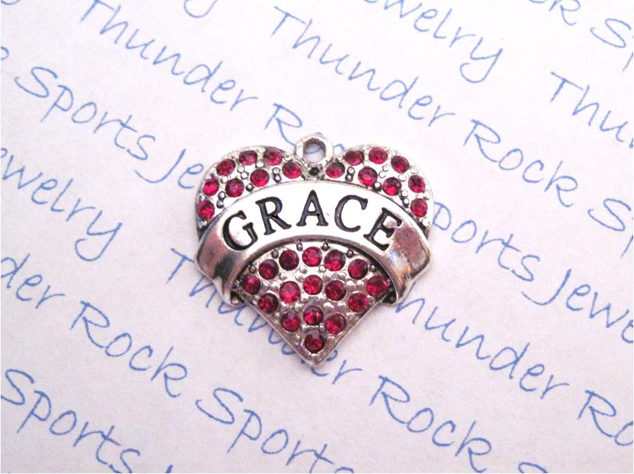Grace Charm Red Crystal Silver Heart Pendant