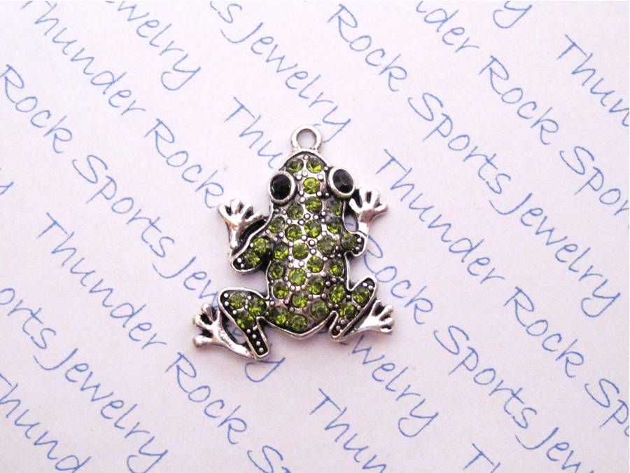 Frog Charm Green Crystal Silver Pendant
